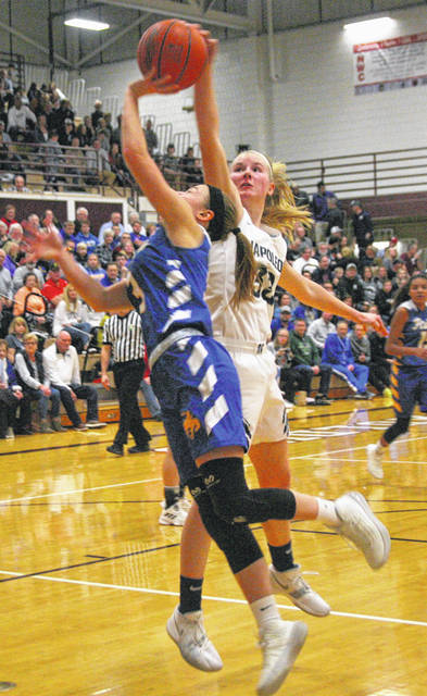 Napoleon's Casly Ressler defends a shot by St. Marys' Ally Wills during Saturday night's Division II district final.