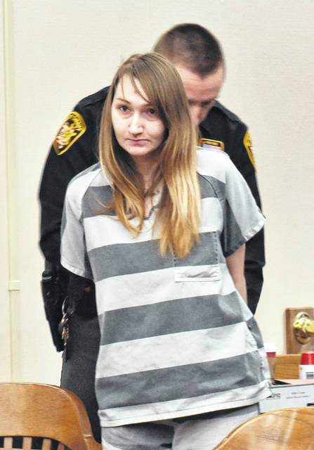 Shelly Wireman leaves an Allen County courtroom Wednesday following her plea to reduced charges in the Easter 2018 death of her 18-month-old son, Jaxxon Sullivan.