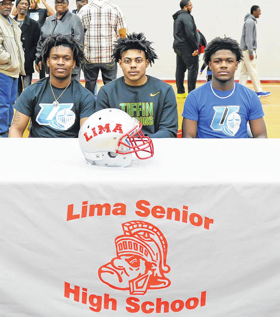 Lima Senior's football players signed their National Letter of Intent to continue their football and academic careers on the next level Wednesday afternoon at Lima Senior High. From left: Jawan Anderson signed with Urbana University, Caymien Durr signed with Tiffin University, and Shannon Allen signed with Urbana University.