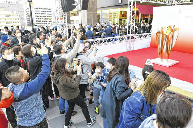 The Olympic flame is displayed Saturday in Sendai, Miyagi Prefecture, north of Tokyo. The Olympic flame from Greece arrived in Japan Friday, and the flame will be on public display in the some areas affected by the 2011 earthquake and tsunami ahead of the Olympic torch relay.