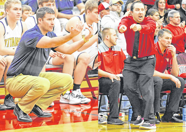 Coaches Tyson McGlaughlin, left, of Ottawa-Glandorf and Mark Triplett of Shawnee had boys basketball teams still in the running for state championships when the season was halted due to the coronavirus pandemic.