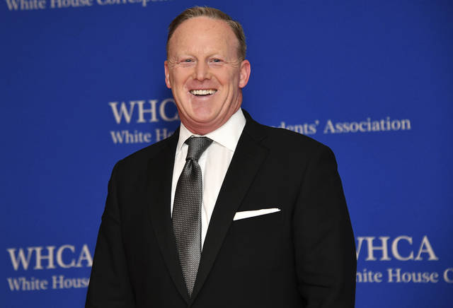 """FILE - This April 27, 2019 file photo shows Sean Spicer at the 2019 White House Correspondents' Association dinner in Washington. Spicer said he expects his old boss, President Donald Trump, to win re-election, but he doesn't view his new television talk show as a vehicle for helping to accomplish that. Trump's first presidential press secretary launches """"Spicer & Co."""" Tuesday, March 3, 2020, on the conservative cable network Newsmax TV. (Photo by Charles Sykes/Invision/AP, File)"""
