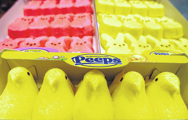 Boxes of marshmallow Peeps are lined up at the Just Born factory in Bethlehem, Pa., in April 2003.