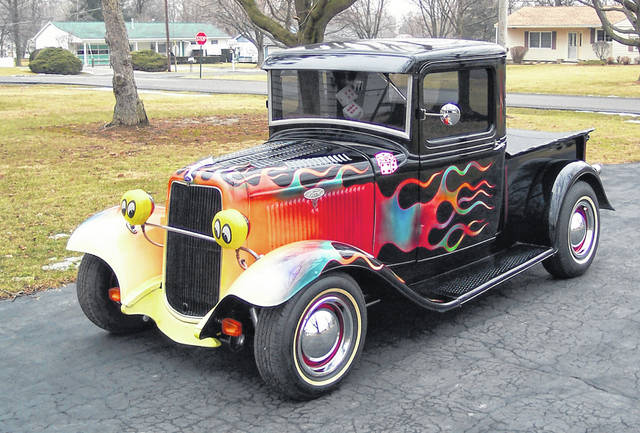 Sandy Dill, of Lima, bought this 1934 Ford Pickup 16 years ago and enjoys the looks he gets while driving it.