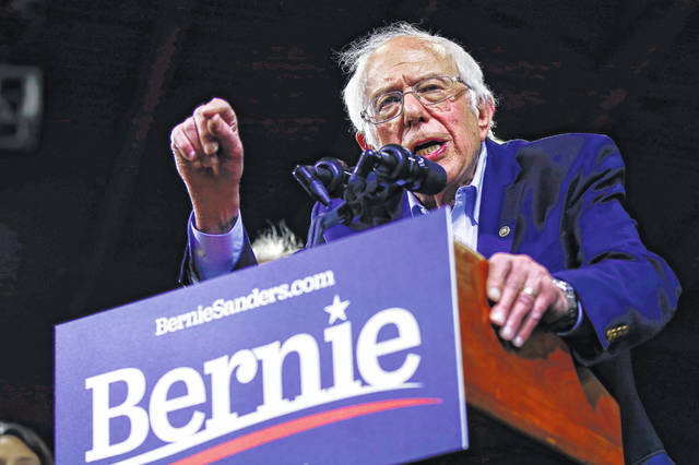 Democratic presidential candidate Sen. Bernie Sanders, I-Vt., speaks during a primary night election rally in Essex Junction, Vt., Tuesday, March 3, 2020.