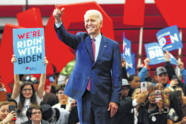 Democratic presidential candidate former Vice President Joe Biden speaks during a campaign rally at Renaissance High School in Detroit, Monday, March 9, 2020.