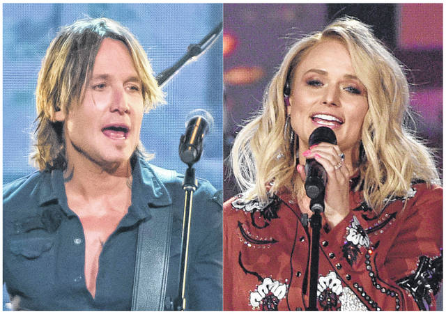 This combination photo shows Keith Urban performing at the 52nd annual CMA Awards in Nashville, Tenn. on Nov. 14, 2018, left, and Miranda Lambert performing at the 54th annual Academy of Country Music Awards in Las Vegas on April 7, 2019. The Academy of Country Music said their April 5 awards show will still go on at the MGM Garden Arena in Las Vegas, but they are monitoring the spread of the coronavirus. The show announced Wednesday that host and reigning ACM entertainer of the year, Keith Urban will perform on the show, airing live on CBS, as well as nominee Miranda Lambert.