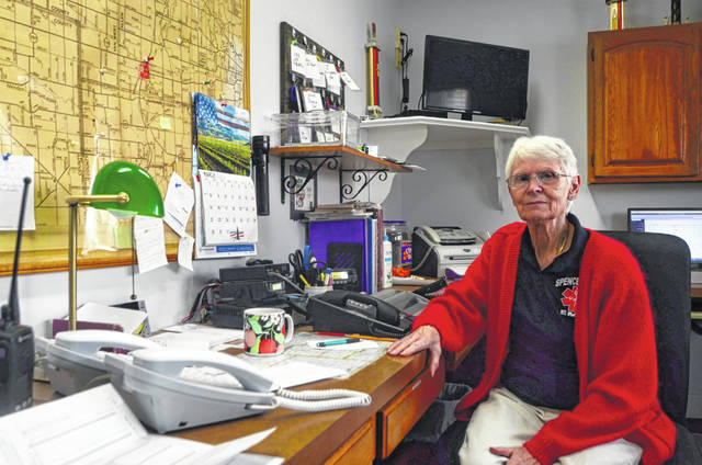 Barb Coil sits in her standard spot in the front office of the Spencerville EMS garage. The Jefferson Award winner is a founding member of the organization, where she served for 46 years.