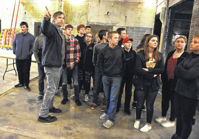 Rob Nelson, owner of The Met in downtown Lima, addresses the Columbus Grove Economic Development Class during a tour of his new brewery project in Lima.