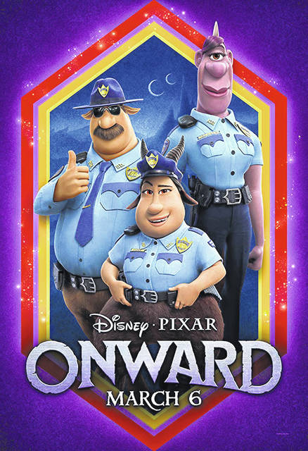 """Officer Specter, right, in a poster for """"Onward."""" She is the first openly LGBTQ character in a Pixar movie."""