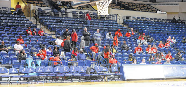 Lima Senior fans during a Wednesday night Division I regional semifinal at John F. Savage Arena in Toledo.