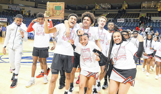 Lima Senior celebrates its victory after winning the Division I district final at the University of Toledo Saturday.