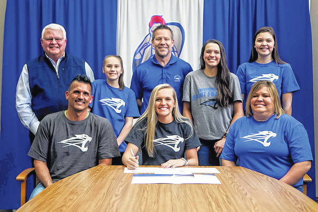 Crestview's Lexi Gregory has signed a letter of intent to play volleyball for the University of Saint Francis in Fort Wayne, Indiana, beginning in the fall of 2020. In addition to being a second team volleyball All-Ohio selection, Gregory was a First Team All-Northwest Conference honoree in volleyball, basketball and softball. She holds several records at Crestview, including the all-time kills mark. Gregory plans on majoring in business administration with a minor in accounting. Joining Gregory, seated center, for the signing were her parents, Mark and Tammy, both seated, and, standing, her grandfather Randy Custer, sister Kaci, Saint Francis Coach Scott Haddix and sisters Bailey and Cali.