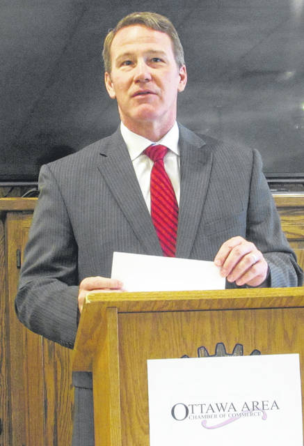 Lt. Gov. Jon Husted spoke Tuesday during Ottawa Area Chamber of Commerce's Lunch With Leaders event in Ottawa at Henry's Restaurant.