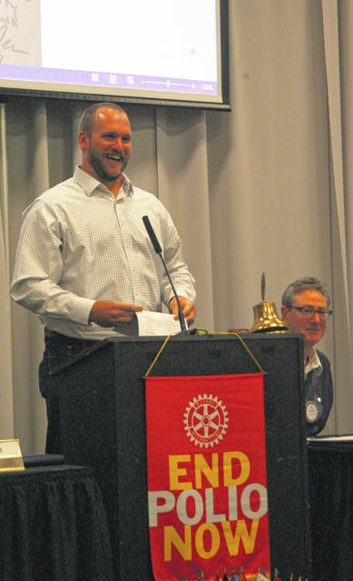 Mike Person, a nine-year veteran of the NFL, was the guest speaker at the Lima Rotary Club noon luncheon Monday.