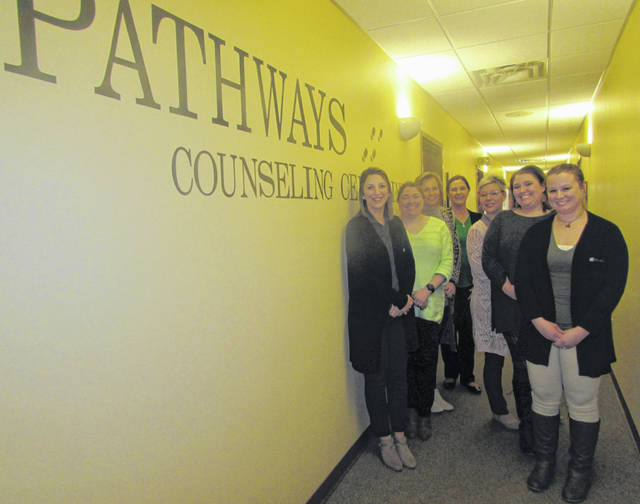 Pictured clockwise from left are Pathways Counseling Center staff Rachael Ruhe, registered nurse; Shelly Coonrod, licensed professional counselor; Donna Konst, Pathways executive director; Dionne Graham, licensed mental health and drug and alcohol counselor; Elaine Kiene, clinical director and counselor; Beth Tobe, prevention coordinator; and Chelsea Miller, qualified mental health specialist.