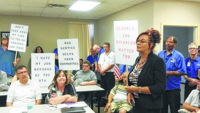 FILE — Allen County Regional Transit Authority Executive Director Sheila Haney addresses the issue of a potential sales tax levy during a past Allen County RTA board meeting.