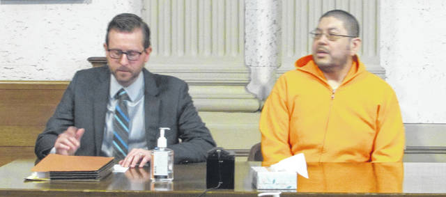 Attorney Alex Treece, left, appeared in Putnam County Common Pleas Court Monday with his client Joseph Garcia who was sentenced on a rape charge.