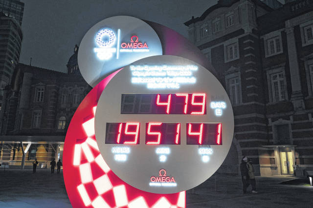 A countdown clock earlier this week displays the remaining days until the new start date for the Tokyo 2020 Olympics in Tokyo.