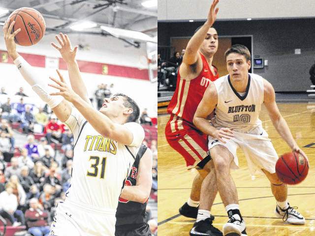 Ottawa-Glandorf's Ben Westrick, left, has signed to play basketball for University of Northwestern Ohio. Bath graduate Andrew Renner, right, has received the 2020 A.C. Burcky Award as Bluffton University's outstanding senior male athlete of the year.