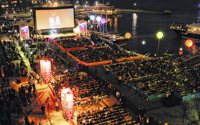 """This April 20, 2011, photo shows a view of the outdoor screening area for the world premiere of """"The Union"""" at the Tribeca Film Festival in New York. Parts of the 19th Tribeca Film Festival have been moved online."""