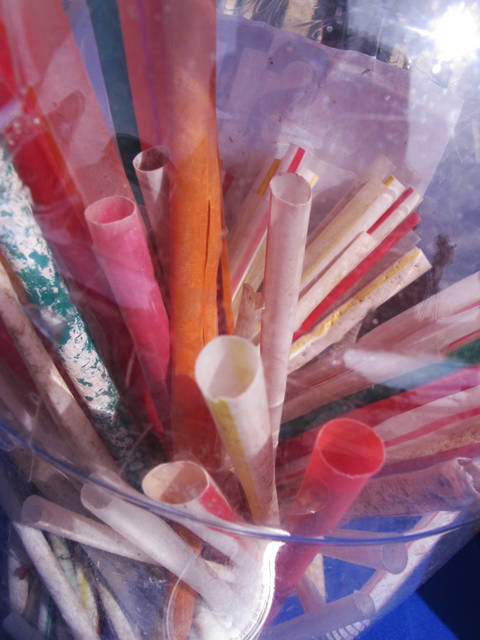 This April 2, 2019 photo from Sandy Hook, N.J. shows an array of plastic straws plucked from New Jersey beaches during the Clean Ocean Action environmental group's cleanups in 2018. Figures released on Tuesday, April 14, show the group's volunteers removed nearly a half-million items of trash from New Jersey's beaches in 2019. (AP Photo/Wayne Parry)