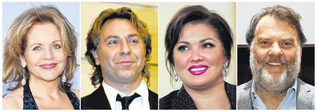 This combination photo shows opera singers, from left, Renée Fleming, French tenor Roberto Alagna, Russian Soprano Anna Netrebko and Welsh bass-baritone Bryn Terfel, who are among 38 opera stars in 13 nations scheduled for the Metropolitan Opera's At-Home gala, which will be streamed live on April 25 starting at 1 p.m. EDT.