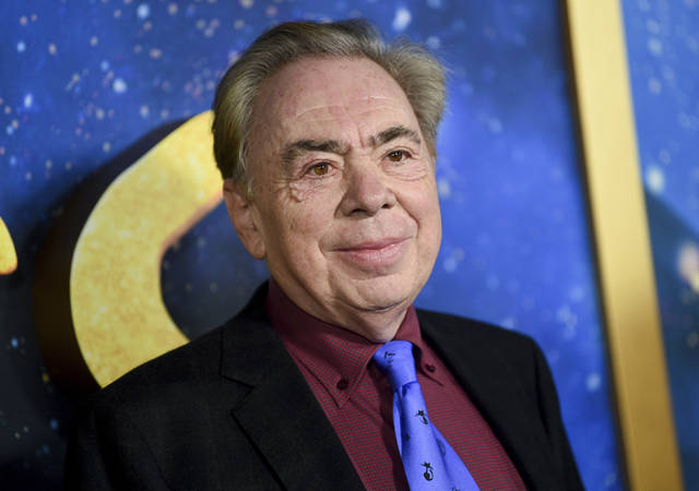 """FILE - This Dec. 16, 2019 file photo shows composer and executive producer Andrew Lloyd Webber attending the world premiere of """"Cats""""  in New York. Webber is making some of his filmed musicals available for free on YouTube. On Friday, the 2000 West End adaption of """"Joseph and he Amazing Technicolor Dreamcoat"""" starring Donny Osmond will be streamable, followed a week later by the rock classic """"Jesus Christ Superstar"""" from the 2012 arena show starring Tim Minchin. (Photo by Evan Agostini/Invision/AP, FIle)"""