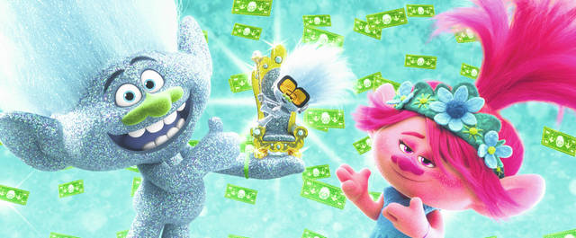 """Characters, from left, Guy Diamond, voiced by Kunal Nayyar, Tiny Diamond, voiced by Kenan Thompson, and Poppy, voiced by Anna Kendrick, appear in a scene from """"Trolls World Tour."""" Universal Pictures is calling the """"Trolls World Tour"""" digital release a success and suggests it may be the beginning of a sea change in how movies are released. Theater owners strenuously disagree. AMC Theaters, the largest chain in the United States, is signaling an all-out war, saying it will refuse to play Universal movies."""
