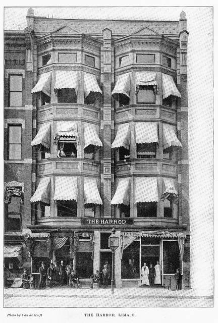 The Harrod Building, photographed in 1896. It was built in 1892 and operated as a hotel featuring 75 rooms. It became known for a variety of restaurants over the years.