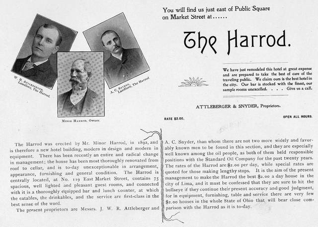 "A promotional piece explains the Harrod Building was the brainchild of Minor Harrod, center, and operated by W.R. Attleberger, left, and A.C. Snyder, right. The rates are $2 a day, with discounts available to those who were ""making lengthy stops."""