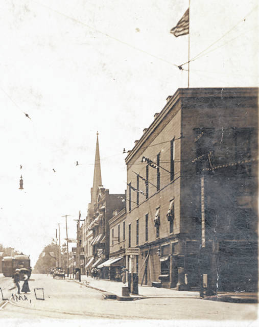 The north side of the 100 block of West Market Street appears in this photograph from 1912.