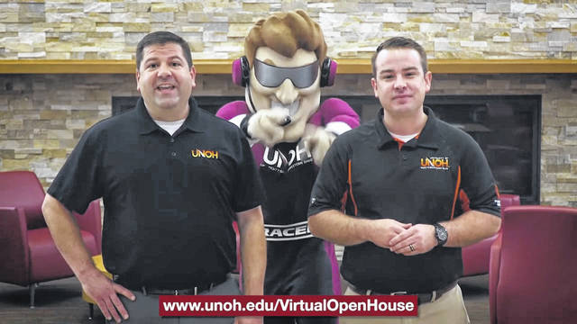 """Torque, the mascot for the University of Northwestern Ohio, steals the show from Tony Azzarello, left, the UNOH admissions director, and Trey Becker, UNOH's national admissions representative, during a """"virtual open house"""" video. With the coronavirus pandemic, many colleges and universities moved their student recruiting efforts online."""