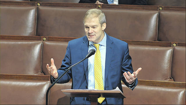 U.S. Rep. Jim Jordan, R-Urbana, speaks on the floor of the House of Representatives at the U.S. Capitol in Washington on Thursday. Jordan was one of just two representatives who didn't wear a mask to Thursday's session.