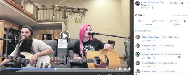 Frank Stemen (left) and Kaitlyn Schmit (right) perform on a live-stream posted online to Facebook. The two expect the rest of the band to jump in for larger full performance sometime down the line.
