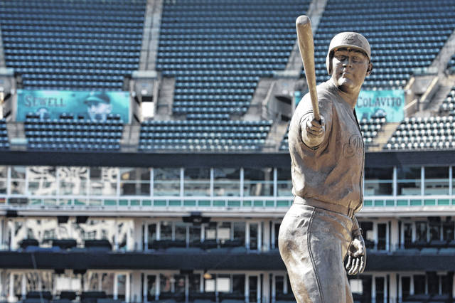 A statue of former Cleveland Indians player Jim Thome stands in an empty Progressive Field in Cleveland.