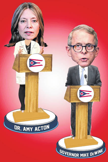 Dr. Amy Acton joins Ohio Gov. Mike DeWine in the National Bobblehead Hall of Fame and Museum.