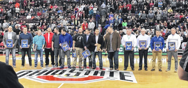 Members of the 1997 Lincolnview Lancers state championship team were recognized at the 2017 state championship tournament at the Schottenstein Center in Columbus.
