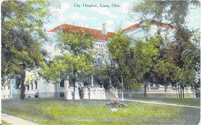 A postcard shows Lima's City Hospital with nurses and other staff members out front. The year is unknown.