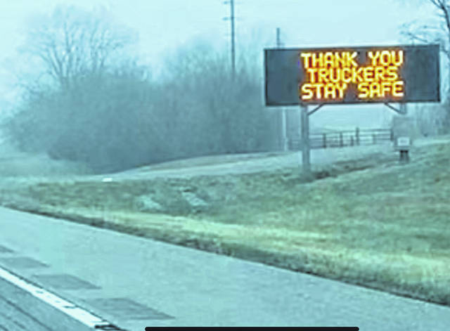 A sign along Interstate 70 west of Kansas City greets truckers.