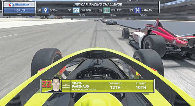 This image shows driver Simon Pagenaud's view during the First Responder 175 presented by GMR virtual IndyCar race Saturday at the Indianapolis Motor Speedway.
