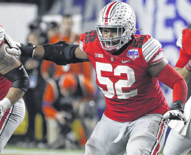 "Ohio State right guard Wyatt Davis (52) said ""we have a lot of guys on our team that have been accountable and have gone above and beyond at working out right now."""
