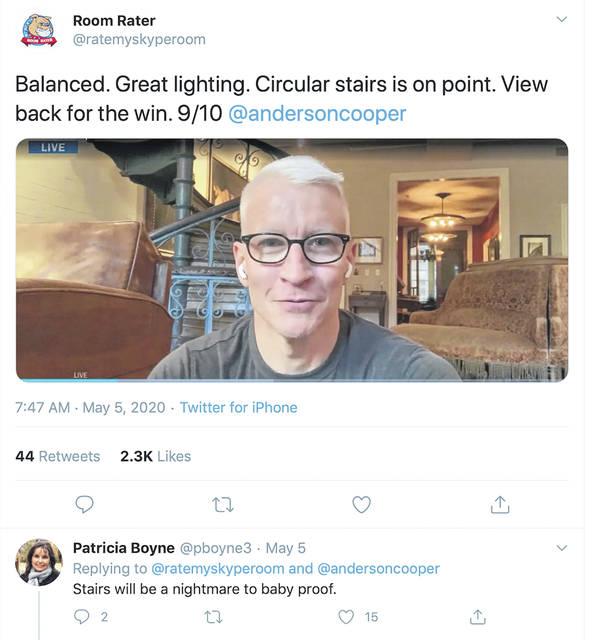 This image taken from the Room Rater Twitter account shows CNN's Anderson Cooper's interesting home.