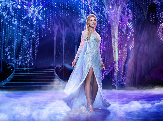 "This image released by Disney Theatricals shows Ciara Renee as Elsa in the musical ""Frozen."" The big budget musical will not reopen when Broadway theaters restart, marking the first time an established show has been felled by the coronavirus pandemic. The Disney show opened in March 2018 and placed among the top five Broadway productions for both gross and attendance over both years it ran, often pulling in over $1 million. (Mary Ellen Matthews/Disney Theatricals via AP)"