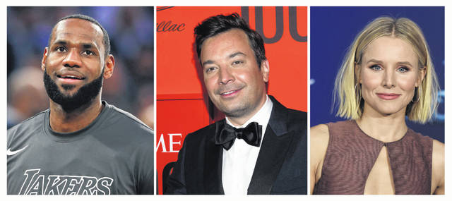 From left, Los Angeles Lakers forward LeBron James, TV show host Jimmy Fallon and actress Kristen Bell, were all among the 2020 Webby Award winners for internet excellence.