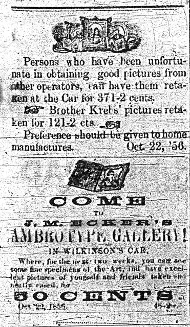 An advertisement appeared in an edition of the Allen County Democrat in 1856.