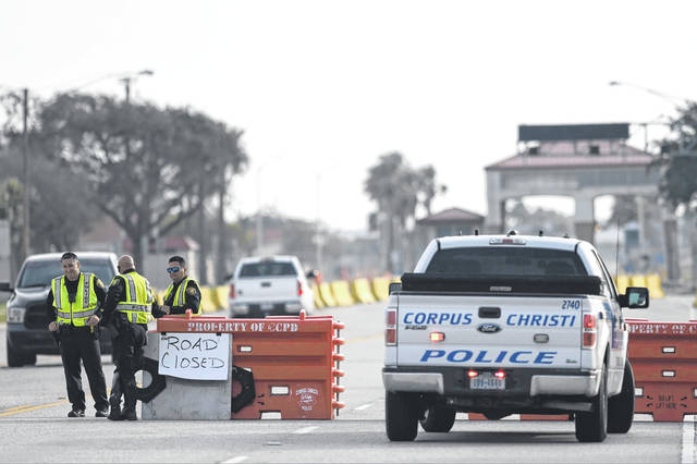 "The entrances to the Naval Air Station-Corpus Christi are closed following an active shooter threat, Thursday, May 21, 2020, in Corpus Christi, Texas. Naval Air Station-Corpus Christi says the shooter was ""neutralized"" and the facility is on lockdown."