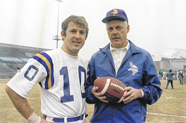 Former Minnesota Vikings coach Bud Grant, shown with quarterback Fran Tarkenton, was the first coach to take four teams to the Super Bowl. But his team lost in all four of those championship games.