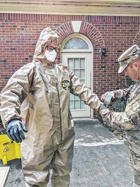 Staff Sgt. Scott Shalek with the Georgia Air National Guard prepares to go into a nursing home in Georgia. The Lima native helped sanitize and disinfect several nursing homes over the past few weeks.