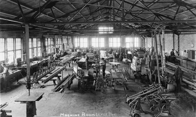 Men work in the machine room of the Lewis Bros. lumber business in this undated photo. The business began in Rockford and moved to Lima in 1914. It was located at 142 E. Pearl St. Lima Armature Works bought the location in 1948, and the lumber business moved to Harrod.